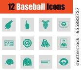 baseballl icon set. green on...