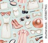 fashion illustrations. seamless ... | Shutterstock . vector #655887961