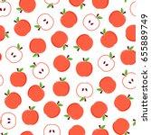 flat design red apples seamless ... | Shutterstock .eps vector #655889749