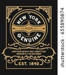 vintage card with central logo | Shutterstock .eps vector #655890874
