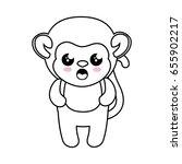 monkey kawaii cartoon | Shutterstock .eps vector #655902217