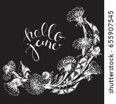 hand drawn wild flowers wreath... | Shutterstock .eps vector #655907545