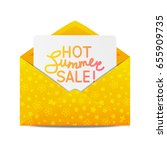 summer sale message in envelope | Shutterstock .eps vector #655909735