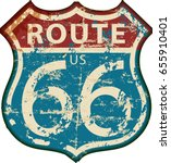 vintage route sixty six road... | Shutterstock .eps vector #655910401