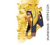 egyptian pharaoh and queen on... | Shutterstock .eps vector #655911124