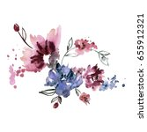 cute watercolor hand painted... | Shutterstock . vector #655912321