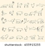 one line animals set  logos.... | Shutterstock .eps vector #655915255