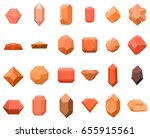 set of 16 diamonds. gemstone... | Shutterstock .eps vector #655915561