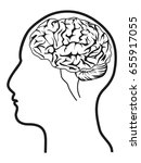human head with brain | Shutterstock .eps vector #655917055