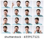 emotions faces set of handsome... | Shutterstock . vector #655917121