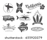 surf boards emblem and badges... | Shutterstock .eps vector #655920379