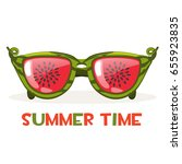 cartoon watermelon glasses.... | Shutterstock .eps vector #655923835