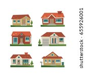 house icon set  flat  eps 8  no ... | Shutterstock .eps vector #655926001