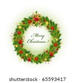 christmas wreath with bell | Shutterstock .eps vector #65593417