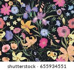 Stock vector beautiful seamless floral pattern flower vector illustration field of flowers 655934551