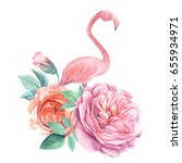 composition with roses flowers... | Shutterstock . vector #655934971