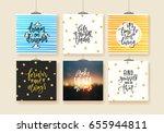 set of trendy hand lettering... | Shutterstock .eps vector #655944811