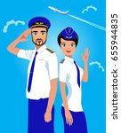 stewardess and the commander of ... | Shutterstock .eps vector #655944835