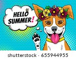 pop art dog. funny surprised... | Shutterstock .eps vector #655944955
