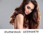 closeup beauty portrait of... | Shutterstock . vector #655944979