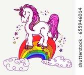 magic unicorns on rainbow. cute ... | Shutterstock .eps vector #655946014