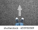 sneakers on the road with... | Shutterstock . vector #655950589