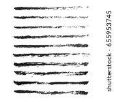 set of hand drawn grunge brush...   Shutterstock .eps vector #655953745