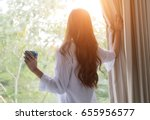 wake up  woman in the morning... | Shutterstock . vector #655956577