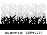 jumping crowd | Shutterstock .eps vector #655961134
