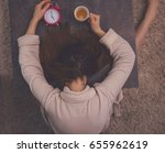 very tired overworked female... | Shutterstock . vector #655962619