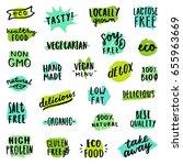 set of food badges. allergens ... | Shutterstock .eps vector #655963669
