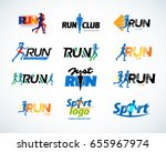 Stock vector sport club running club vector labels and emblems logotypes badges apparel t shirt design 655967974