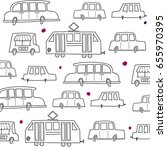 pattern with cute graphic cars  ... | Shutterstock .eps vector #655970395