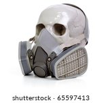 Gas mask and skull a on white background. - stock photo