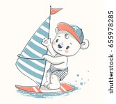 cute baby bear windsurfer... | Shutterstock .eps vector #655978285