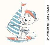 Stock vector cute bear windsurfer cartoon hand drawn vector illustration can be used for t shirt print kids 655978285