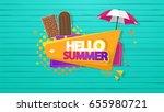 hello summer vector background  ... | Shutterstock .eps vector #655980721