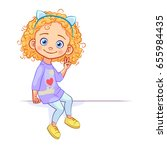 funny curly girl sits on a big... | Shutterstock .eps vector #655984435