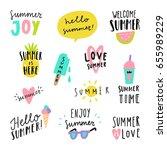 summer lettering. vector hand... | Shutterstock .eps vector #655989229