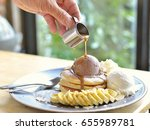 ice cream pancakes with honey... | Shutterstock . vector #655989781