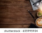 office table with notebook ... | Shutterstock . vector #655995934