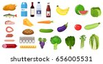 grocery set icon. including... | Shutterstock .eps vector #656005531