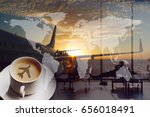 airport coffee and traveling...   Shutterstock . vector #656018491