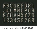 military pixels camo font | Shutterstock .eps vector #656035249