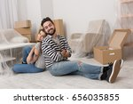 young man and woman are tired... | Shutterstock . vector #656035855