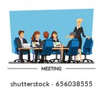 office desk for team planning... | Shutterstock .eps vector #656038555