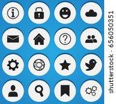 set of 16 editable  icons.... | Shutterstock .eps vector #656050351