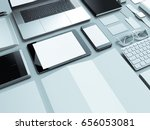 modern office workplace with... | Shutterstock . vector #656053081
