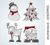 Set of Four Christmas  themed Figures - stock photo