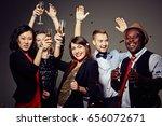 three attractive young women... | Shutterstock . vector #656072671